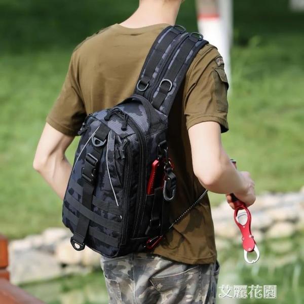 單雙肩兩用多功能戶外旅行包迷彩戰術背包小胸包男大容量『艾麗花園』