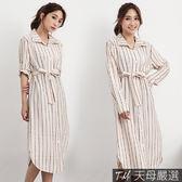 【天母嚴選】字母條紋附綁繩口袋襯衫洋裝(共二色)