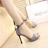高跟涼鞋 10cm細跟涼鞋一字搭扣簡約