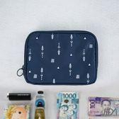 【韓版】超質感280T加厚防水雙層護照包/收納包(深藍)