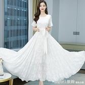 短袖洋裝 白色仙女雪紡連身裙春夏裝2021年新款提花長款收腰大擺度假沙灘裙 秋季新品