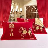 枕巾 婚慶棉質一對裝紗布情侶結婚大紅色龍鳳雙喜枕巾 FR5251『男人範』