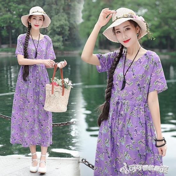 棉麻洋裝-春夏新款女裝民族風裙子棉麻印花圓領洋裝束腰寬鬆顯瘦長裙 Cocoa