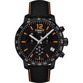 【超贈點5倍】TISSOT 天梭 T-Sport Quickster 競速運動計時手錶-黑x橘/42mm T0954173605700