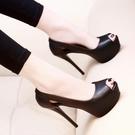 魚口鞋 2021早春新款少女高跟鞋細跟10CM黑色防水臺皮面夜店性感魚嘴單鞋