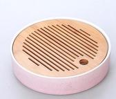 陶瓷日式功夫茶具家用茶盤圓形大號竹製迷你儲水茶海幹泡台