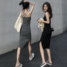 洋裝 女春秋開叉長裙春裝2021年新款女裝長款吊帶連衣裙【618特惠】