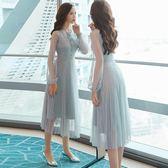 現貨 歐洲站流行連衣裙女春裝2019大碼新款中長款修身氣質名媛過膝裙子 長袖 洋裝連身裙