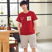睡衣男士夏季純棉短袖短褲青少年薄款學生夏天紅色家居服兩件套裝 DJ11949『麗人雅苑』