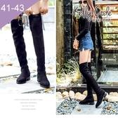 大尺碼女鞋-凱莉密碼-秋冬時尚質感絨布後綁帶過膝平底長靴3.5cm(41-43)【EL018-Z1】黑色