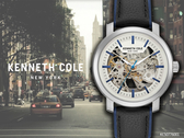 【時間道】KENNETH COLE 都會紳士鏤空機械腕錶/銀白面藍邊黑皮帶(KC50776001)免運費