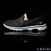 【懶人鞋】SKECHERS 女休閒運動鞋 高彈性設計適合久走久站者穿著 黑灰色+銀光絲鞋面  【3613】