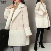 新款女冬季加厚中長款韓版寬松羊羔毛絨外套女冬天棉襖