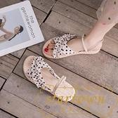 涼鞋女學生百搭羅馬兩穿涼拖休閒沙灘平底鞋【繁星小鎮】