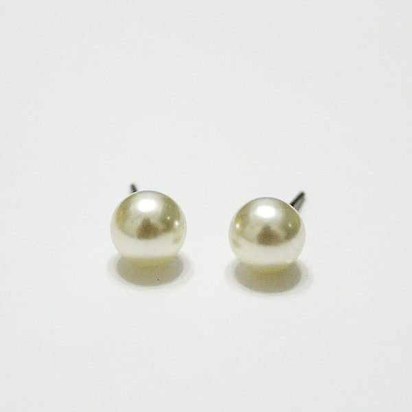 316L醫療鋼 7mm大珍珠 耳環耳針釘-銀 防抗過敏