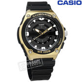 CASIO / MWC-100H-9A / 卡西歐 立體刻度 LED照明 日本機芯 防水100米 運動 橡膠手錶 黑x金框 44mm
