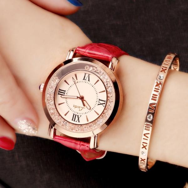 現貨手錶流動水鑽女錶正韓時尚休閒潮流女錶學生皮帶防水石英手錶【6色可選】【限時八折】