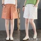 棉麻短褲 夏季新款文藝大碼寬鬆休閒棉麻五分褲高腰顯瘦亞麻闊腿短褲女 阿薩布魯