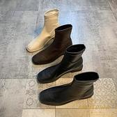 短靴女韓版中筒靴秋冬季方頭馬丁靴百搭【繁星小鎮】