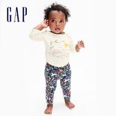 Gap嬰兒 布萊納小熊系列 柔軟童趣印花鬆緊休閒褲 602001-海軍藍印花