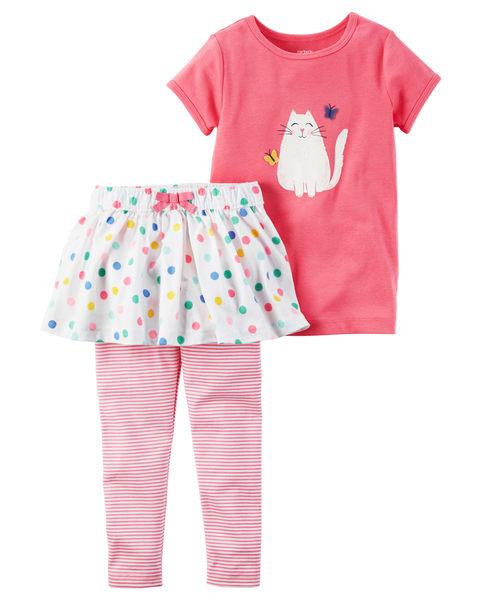 【美國Carter's】短袖套裝2件組 - 微笑貓咪上衣+點點小蓬裙長褲 239G372