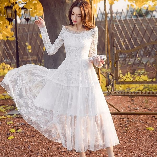 女神風氣質親膚蕾絲一字領長袖長洋裝禮服~美之札
