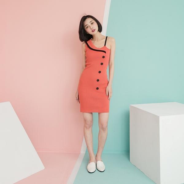 性感典雅法國風彈力針織單肩吊带洋裝 ( 磚橘紅 黑 果綠 卡其 皮粉) 12150097