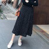 中大尺碼  波點黑色長裙 - 適XL~5L《 67041L 》CC-GIRL