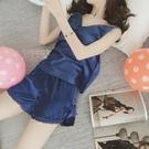 睡衣女性感露背絲綢冰絲吊帶短褲睡衣套裝大碼家居服兩件套裝 黛尼時尚精品