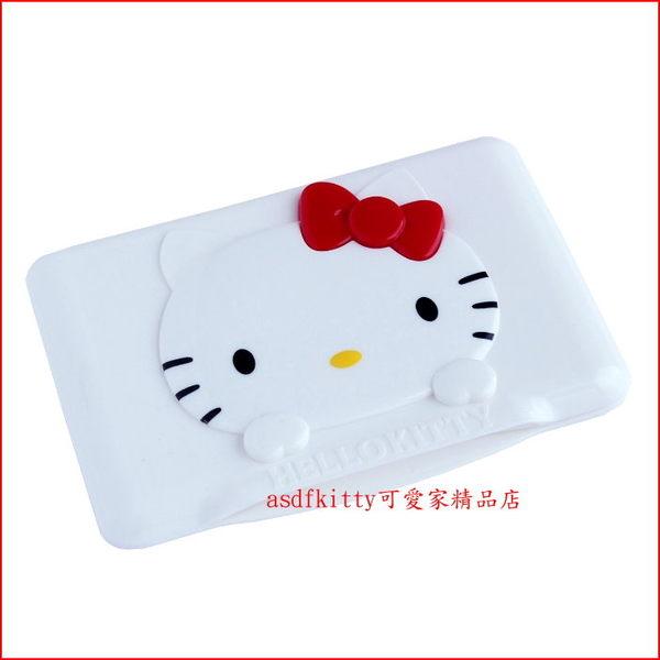 asdfkitty可愛家☆KITTY紅蝴蝶結濕紙巾蓋-可重複黏貼-隨身包.溼拖巾.廚房油污濕巾...也可使用