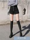 皮褲裙 皮褲靴褲闊腿高腰短褲女款新款修身顯瘦百搭打底外穿 快速出貨