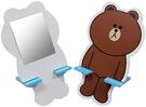 【震撼精品百貨】LINE FRIENDS_兔兔、熊大~兩用手機架+鏡子-熊大-藍【共1款】