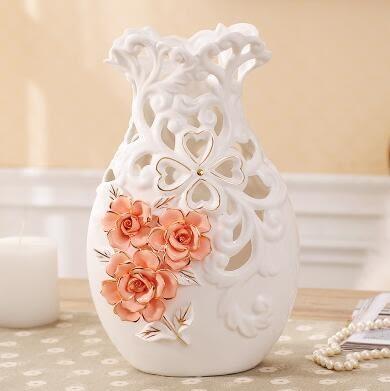 幸福居*歐式陶瓷花瓶創意插花器客廳電視櫃家居裝飾镂空擺件結婚喬遷禮物3(主圖款)