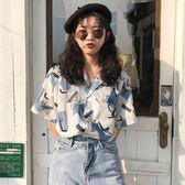 夏季韓版港風復古圖案印花寬鬆短袖襯衫 全館免運