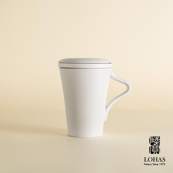 陸寶【樂活旋轉蓋杯】一杯一蓋一茶格 經典仿石釉面