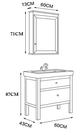 【麗室衛浴】國產北歐風情精緻陶瓷面盆+ PVC置物櫃含PVC功能鏡箱C-222