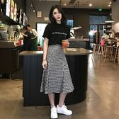 夏季新款女韓版中長款格子裙子 兩件套冷淡風短袖連衣裙 潮流衣捨