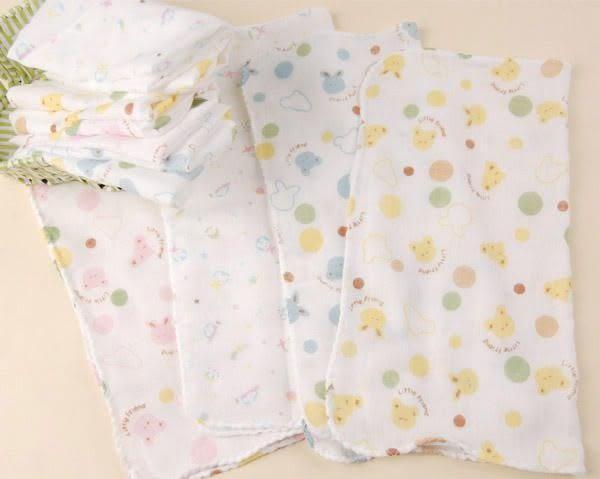 西松屋純棉雙層紗布巾/手帕 (一組 10條顏色隨機)