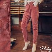 褲子 素色坑條燈芯絨彈力休閒長褲-Ruby s 露比午茶