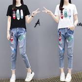 【GZ81】實拍夏季新款韓版大碼印花重工短袖T恤+牛仔褲兩件套套裝女
