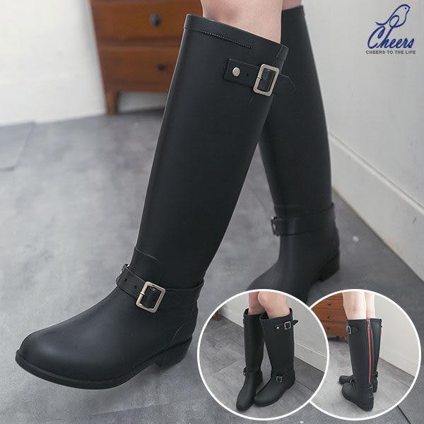 雨靴。Cheers*韓流行時尚雙扣環拉鍊造型雨靴-黑色 現貨【H821】
