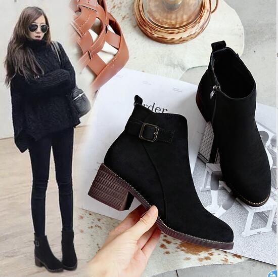 短靴 靴子女短靴2020秋冬新款高跟粗跟ins馬丁靴女短筒網紅瘦瘦靴棉鞋 設計師生活百貨