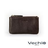 【VECHIO】經典商務男仕系列-拉鍊零錢包(枯葉棕)VE042W08BR