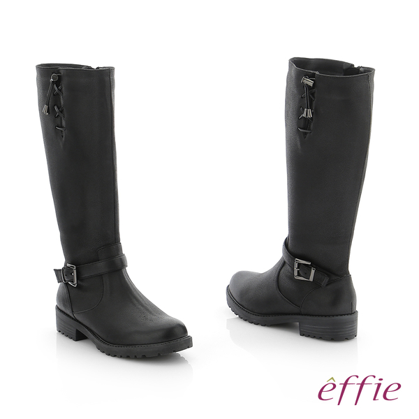 effie 個性美型 防潑水麂皮直筒靴 黑
