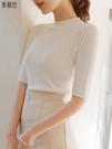 冰絲針織衫女上衣2021初春新款白色七分袖修身顯瘦打底短袖薄款黑 果果輕時尚