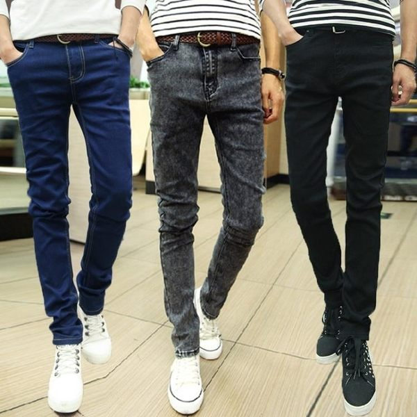 牛仔褲—夏季薄款男士牛仔褲男修身小腳褲男生韓版潮流男褲青年黑色褲子男 快速出貨