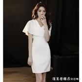 小個子晚禮服女宴會氣質白色短款生日連衣裙平時可穿性感V領顯瘦【美眉新品】