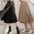 MIUSTAR 氣質款!三側釦百褶一片裙(共3色)【NJ0221】預購