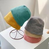 兒童水桶帽韓版簡約百搭水桶漁夫帽日系純色針織盆帽