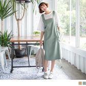 《DA5814-》高含棉休閒素面圓弧口袋吊帶裙 OB嚴選